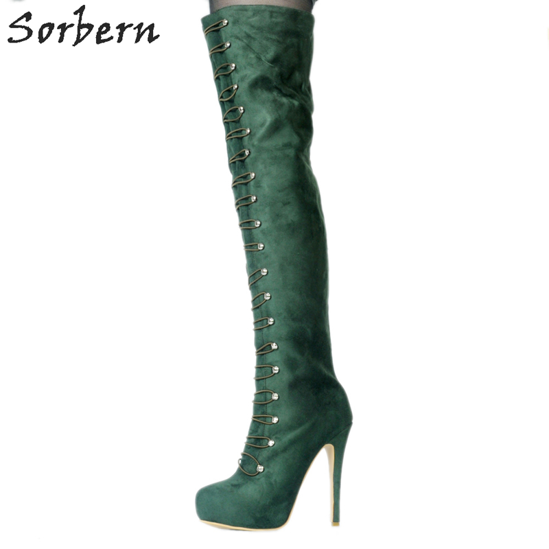 Sorbern Green Women Boots Over The Knee Platform Shoes Women Boots Women'S High Heeled Boots Fetish High Heels New 2018 чехол с аккумулятором gmini mpower case mpcs45 white для galaxy s4 4500mah