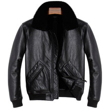 HARLEY DAMSON Black Men Natural Pilot Shearling Coat Plus Size XXXL Winter Thick Genuine Russian Aviator Shearling Jacket(China)