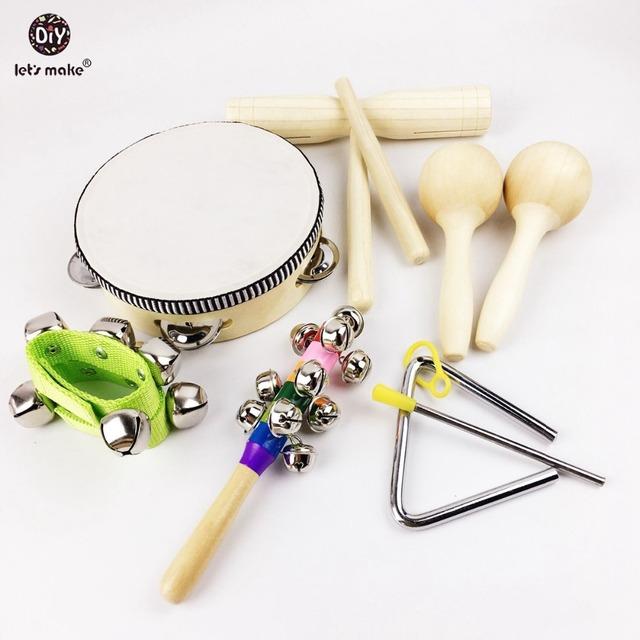 9 pcs Tambor Musical Desenvolvimento Brinquedos de Plástico e de Metal de Madeira Instrumentos Musicais Do Bebê Brinquedos Brinquedos Montessori