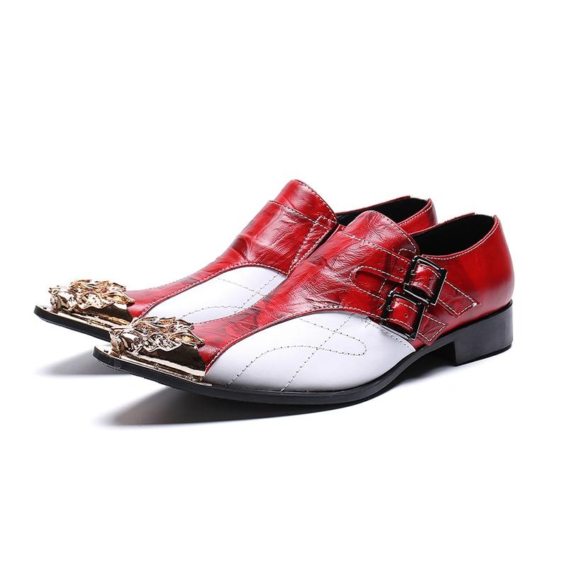 Metal Mariage Robe Luxe Pointu On Livraison Chaussures Cuir Verni Vache Hommes Rouge Gratuite De En Bout Nouvelle Slip Arrivée qPTwZUxq