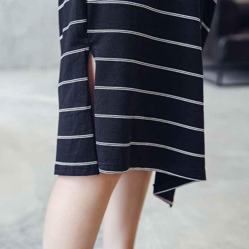 Женское черное летнее платье в полоску с коротким рукавом с принтом 2019 повседневное свободная длинная рубашка платье