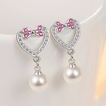 Heart-shaped Pearl Earrings Female Trendy Christmas Deals 925 Sterling Steel Sliver Color Party Drop Earring for Women