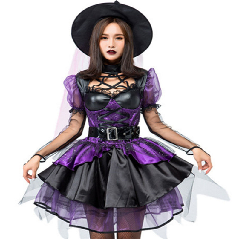 new Sexy luxurious purple Witch Costume Halloween For Adult Women Carnival Masquerade Fancy Black evil witch Cosplay Party Dress