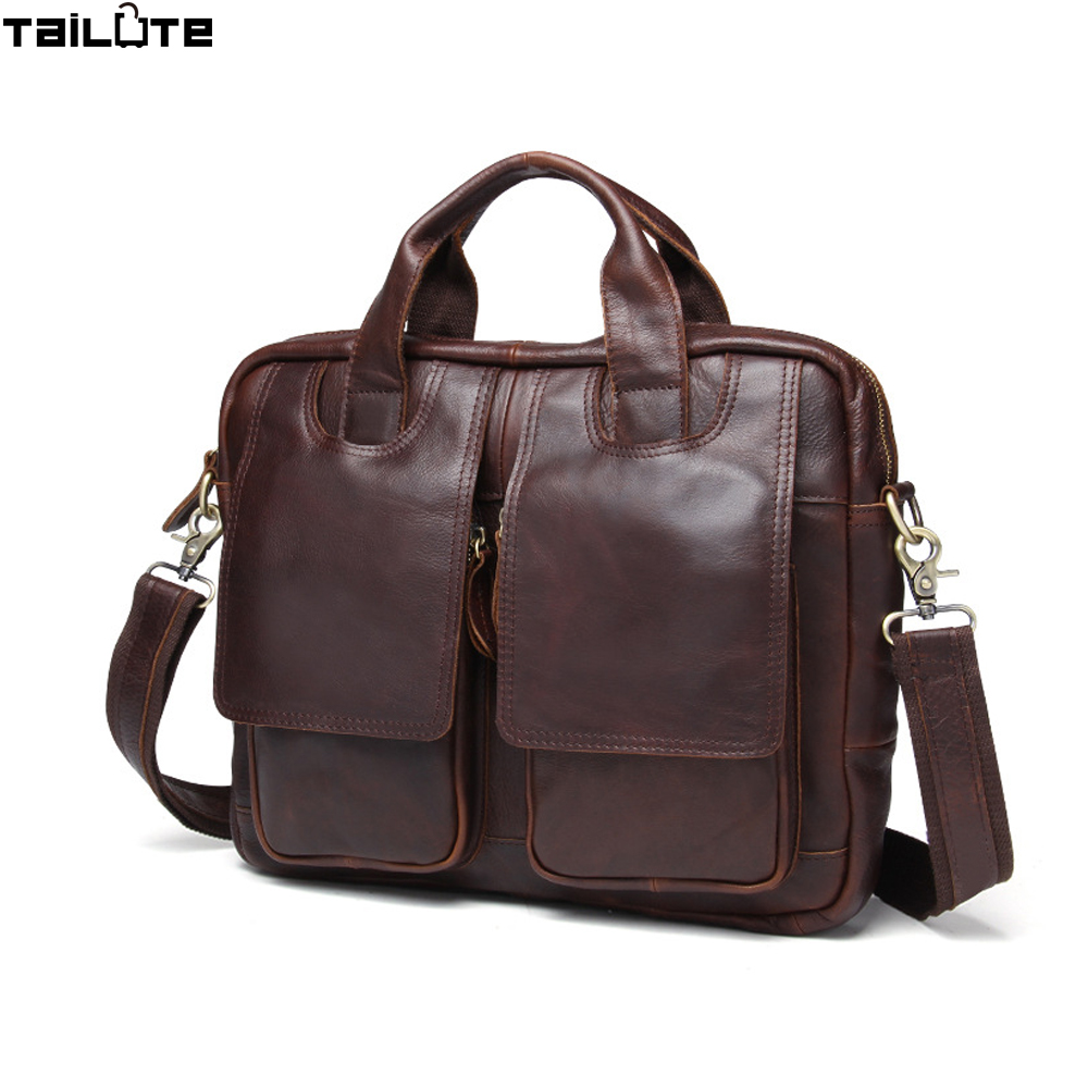 TAILUTE Men genuine leather bag messenger Bag Man Crossbody Shoulder Bag Business Tote Briefcases Cow Leather Brand Handbags y zhuo new 2017 business vintage man tote leather brand handbags men messenger shoulder crossbody bag leather briefcase for man