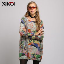 Spring Autumn Casual Long Sweater Women Batwing Long Sleeve Pullover Print Baggy Jumper Solid Knitted Tops Knitwear Free Size