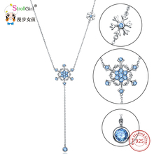 StrollGirl 925 Sterling Silver Chain Pendant Choker Necklace Fashion Jewelry Snowflake Chokers Necklaces & Pendants For Women  peri sbox authentic 925 sterling sliver oval circle pendant necklaces for women simple geometrical chokers necklace statement