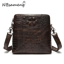 New Fashion 2016 Mens 100% Genuine Cowhide Leather High Quality Backbags Solid Vintage Alligator Pattern Shoulders Bags smb632