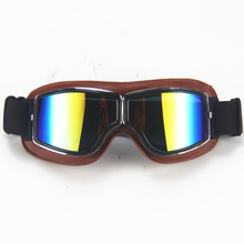 Universal Vintage Pilot Biker Motorcycle Goggles Motorbike Leather Retro Jet Helmet glasses Glasses UV Protection