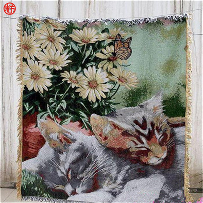 Home textile American style flower sleep cat blanket animal sofa cover tapestry vintage bear throw on bed/travel decor for home nordic style cotton thread blanket thicken woven bed spread throw sofa cover blanket free shipping