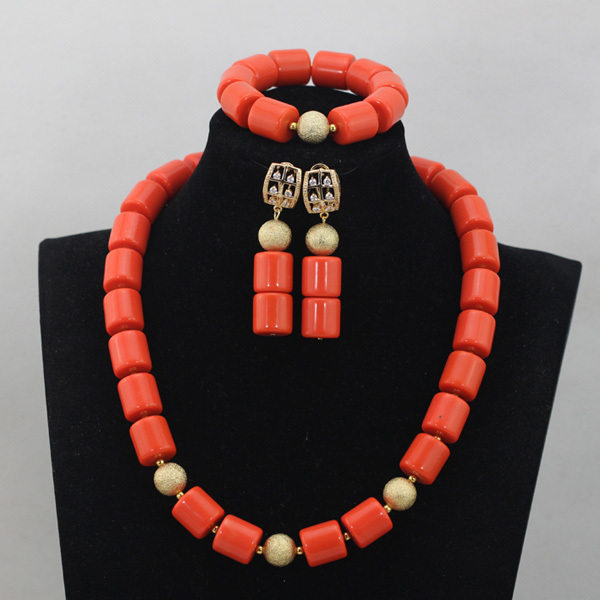 Luxuoso Do Casamento Africano Nigeriano Contas Set Red Coral Contas Set Jóias Meninas/Crianças Colar Pulseira Brincos Frete Grátis CJ760