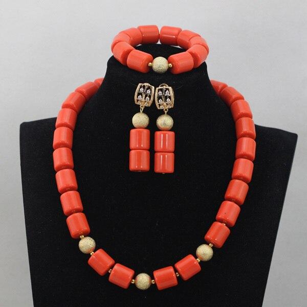 Luxury Nigerian African Wedding Beads Set Red Coral Beads Jewelry Set Girls/Kids Necklace Bracelet Earrings Free Shipping CJ760