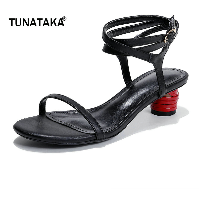 Genuine Leather Comfort Thick Heel Woman Ankle Strap Sandals Fashion Buckle Party High Heel Summer Open Toe Shoes Woman Black sandals new summer 2017 basic shoes woman open back strap sandal square heel fashion beige black 35 40 free shipping bassiriana