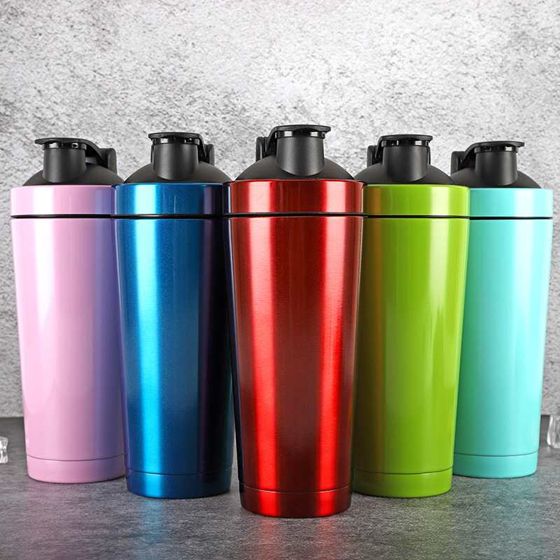 750ml Protein powder shaker water bottle 304 Stainless steel Double Wall Vacuum Insulated water cup Lifetime Gym Mixer bottle