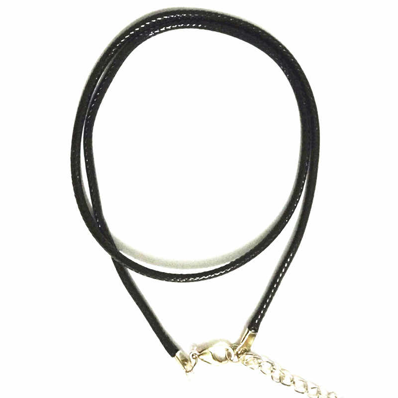 N697 2mm czarny PU skórzany sznur liny skręcony pleciony łańcuszek naszyjnik srebrna zapinka ciąg liny mężczyźni kobiety gargantilha duża promocja