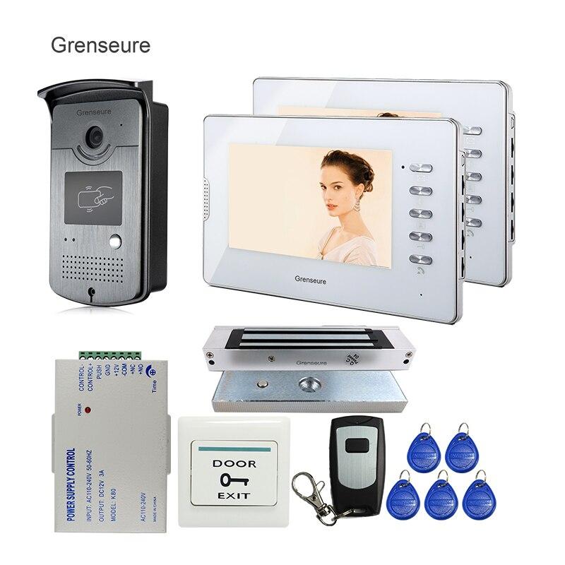 FREE SHIPPING Home 7 Color Video Door phone Intercom RFID Access Waterproof Camera + 2 White Screens + 180kg Magnetic E-Lock