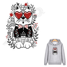 Popular Red Heart Glasses Tiger Jacket Patches Quality Stickers For Clothes DIY Decor Animal Heat Transfers Ironing Appliques(China)