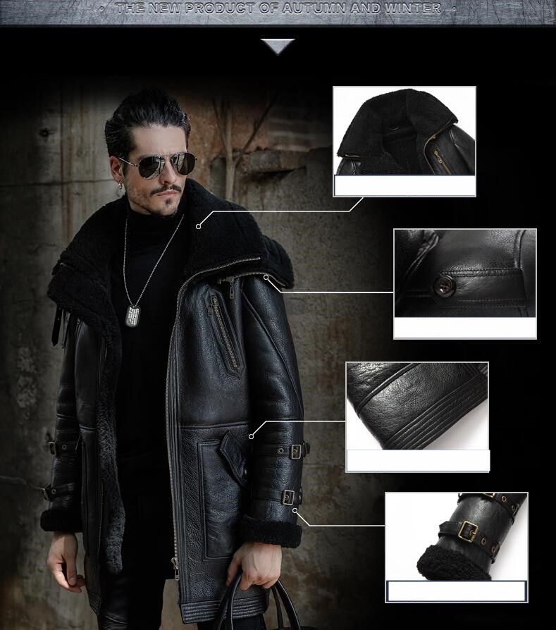 HTB1Fa1yXfvsK1Rjy0Fiq6zwtXXaP Men Winter Thicker Fur one Leather Coat Men's Double Collar Long Sheepskin Leather Jacket High-end Genuine Leather Outwear coats