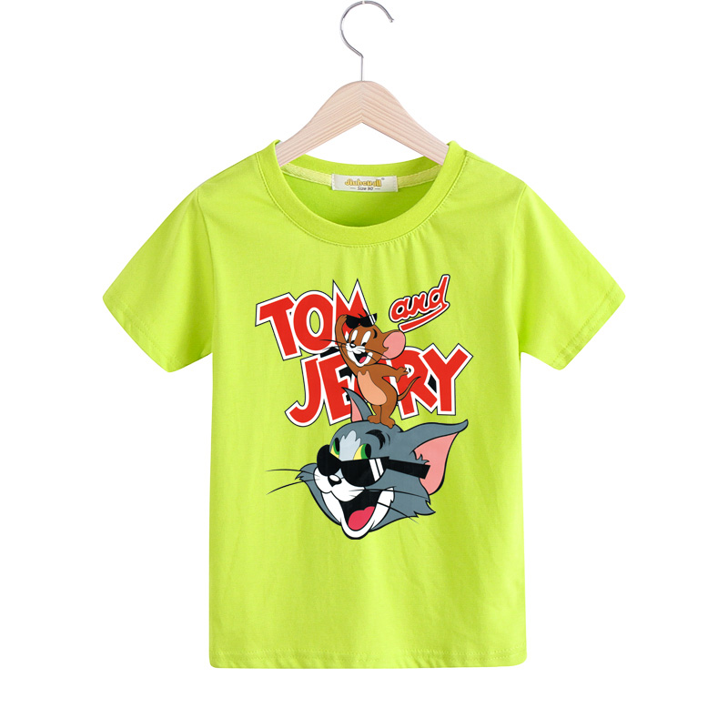 2018 New Pattern Tom and Jerry T-shirt For Kids Children 100%Cotton Tshirt For Boy Girls White Black Shirts Baby Clothes TX025 2017 children clothes kids t shirts adventure time 100% cotton white t shirt for boys and girls tops baby tshirt free shipping