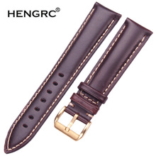 HENGRC Smooth Calfskin Watch Strap Belt 18 19 20 21 22 24mm Black Dark Brown Women Men Watch Band Silver Gold Pin Buckle dark watch