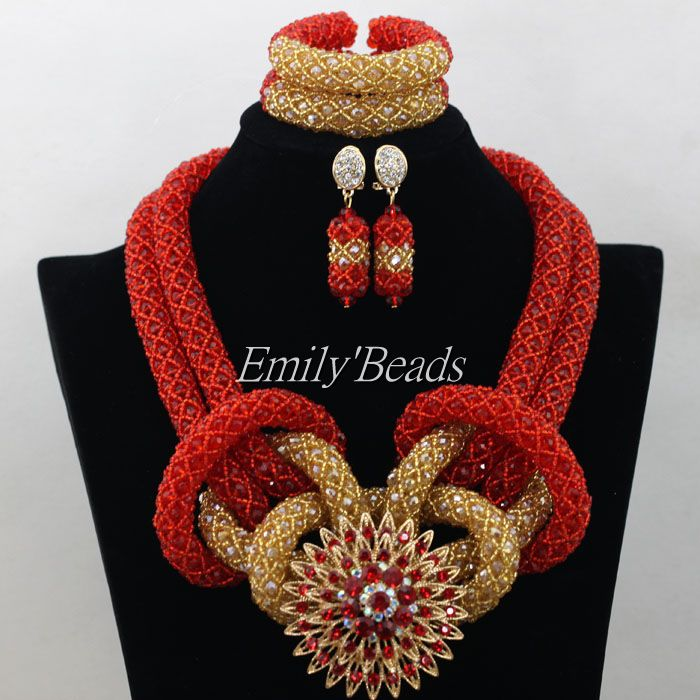 Red Gold African Jewelry Sets Costume Nigerian Wedding Bridal Necklaces Beads Jewelry Set Full Set 2016 New Free Shipping AMJ580Red Gold African Jewelry Sets Costume Nigerian Wedding Bridal Necklaces Beads Jewelry Set Full Set 2016 New Free Shipping AMJ580