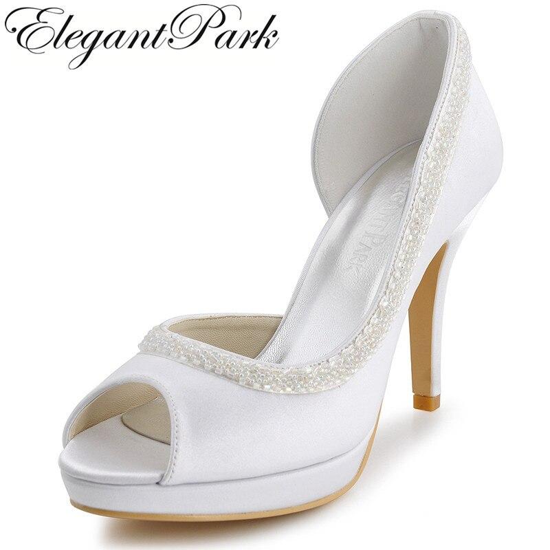 EL-005-PF White Elegant Peep Toe Beading Platforms 4 Stiletto Heel Satin Wedding Party Pumps Women's Shoes fashion white elegant stiletto heel toe with rhinestone wedding bridal shoes platforms comfortable pumps round toes