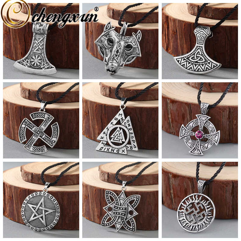 CHENGXUN Men Necklace Viking Odin Symbol Helmet Horror In Rune Braided Borre Knot Norse Celtic Unique Pendant Punk Gift