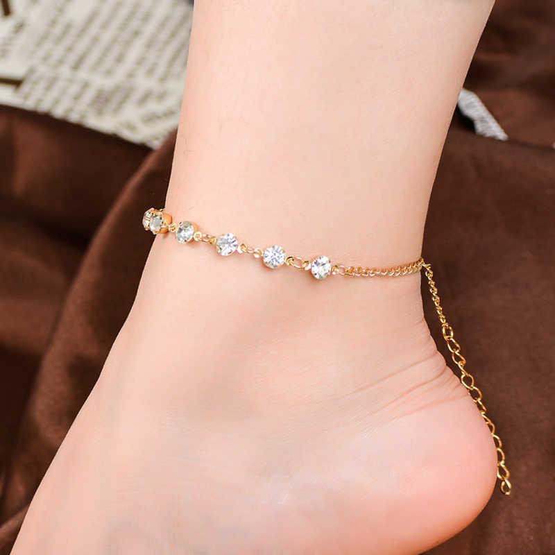 SHUANGR Vintage Moda İmitasyon İnci Kristal Halhal Kadınlar Için Paslanmaz Çelik Ayakkabı Çizme Zinciri Bilezik ayak takısı