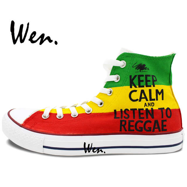 Wen Hand Painted Shoes Design Custom Reggae Man Woman s High Top Canvas  Sneakers Birthday Christmas Gifts 322235ce2aa5