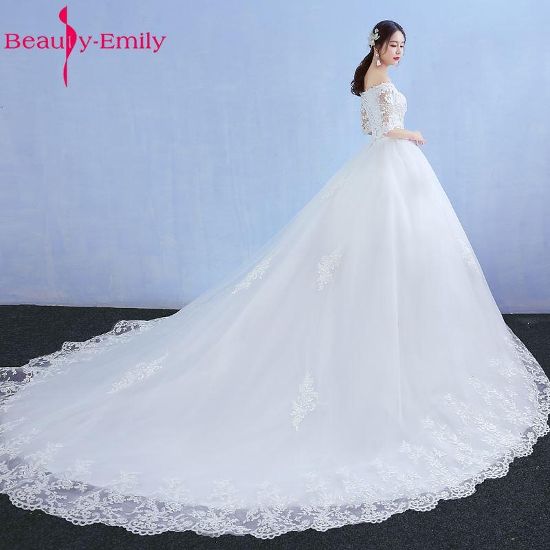 Beauty Emily Luxury Lace Long Ball Gown White Wedding Dresses 2019 Half Sleeve V-Neck Lace Up Tulle Vestido De Noiva