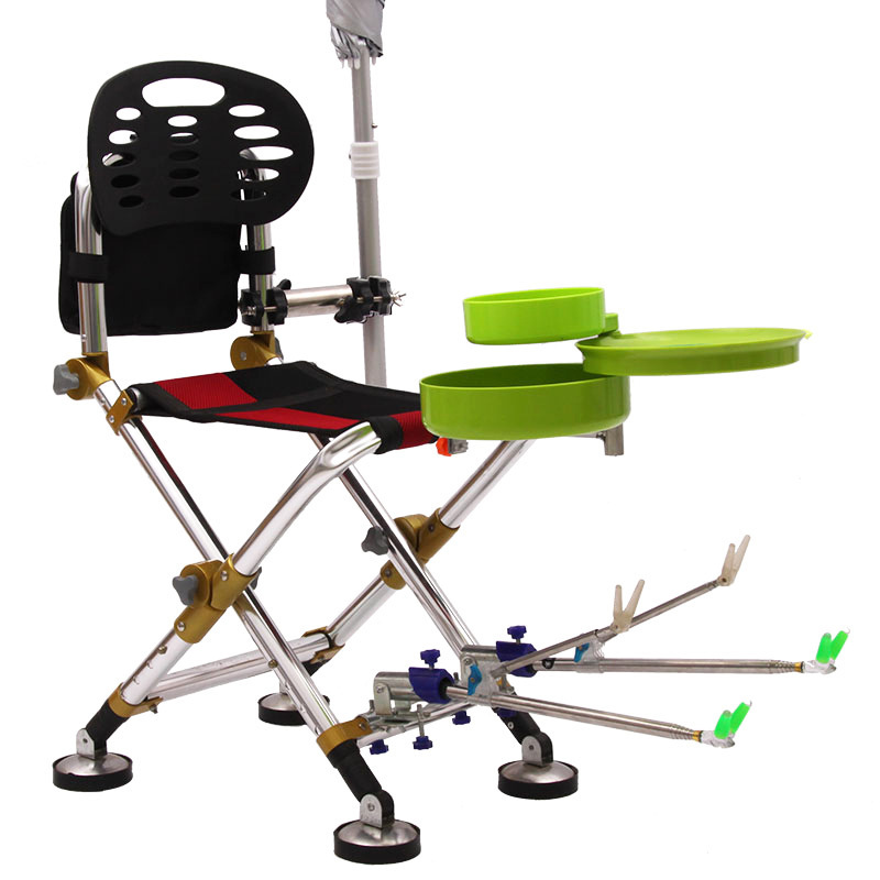 X01 Outdoor Multifunctional folding portable fishing chair tackle fishing chair Fishing accessories fishing supplies multifunctional fishing chair portable double folding fishing stool outdoor resting little bench carry tackle tools