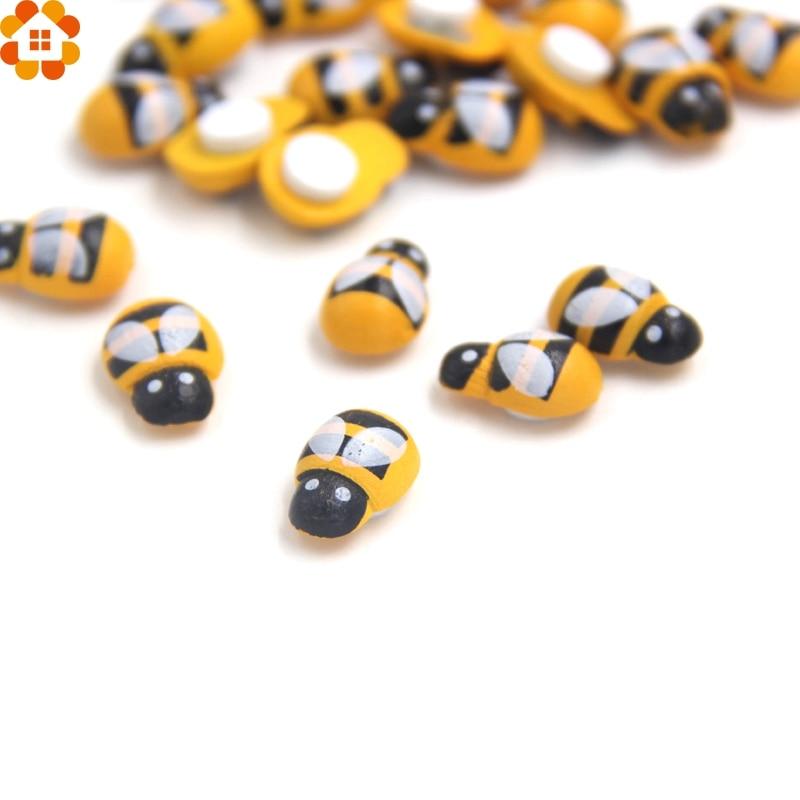 100 Pcs Mini Bee Ladybug Wooden Sponge Self Adhesive Wall Stickers Home Decor