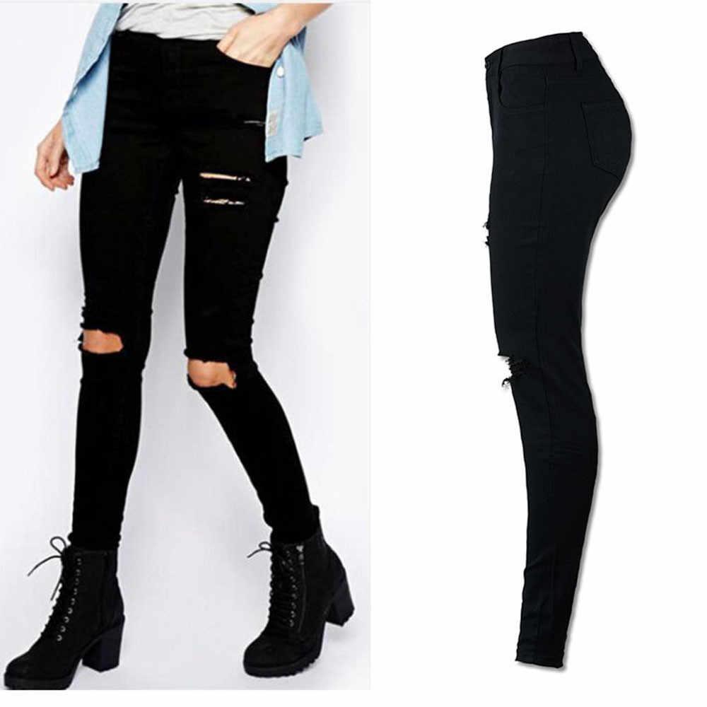 52989baa759bc Women Cool Ripped Knee Cut Leggings Jeans High Waist Skinny Long Hole Jeans  Pants Slim Pencil