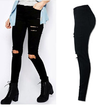 Women Cool Ripped Knee Cut Leggings Jeans High Waist Skinny Long Hole Jeans Pants Slim Pencil Plus Size Trousers Black YL-NEW