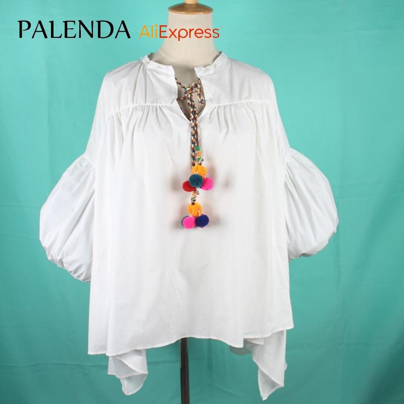 nové tričko halenka top bílá volný čas velká velikost volná obláček rukáv dlouhý V-krk s barevnými pompom