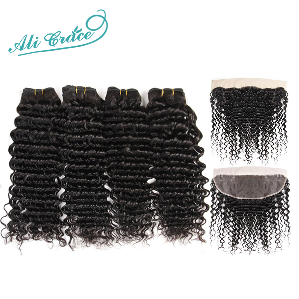Ali Grace Hair Brazilian Deep Wave 4 Bundles With Frontal Remy Human Hair With 13 4