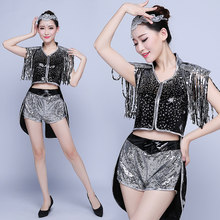 Dance sequined costumes costumes spring new fringed fashion adult sequins stage costume female singer(China)