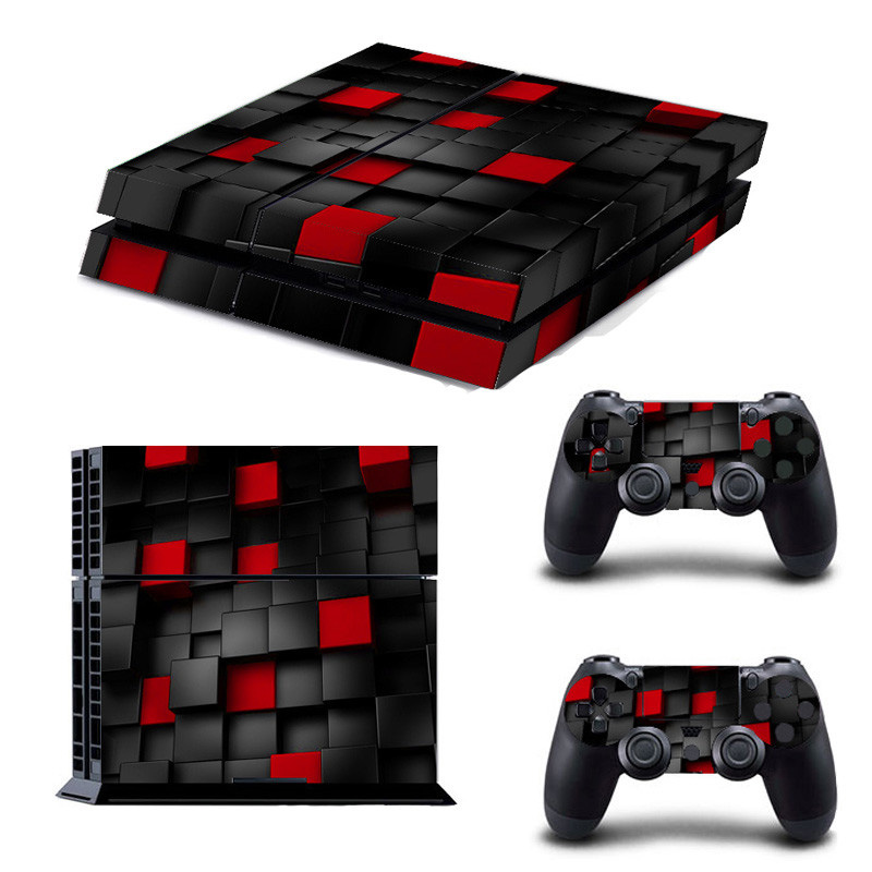 Game Protective Skin Sticker Black and Red Painted Vinyl For Playstation 4 Decal Cover Sticker For PS4 Console +2 Controller