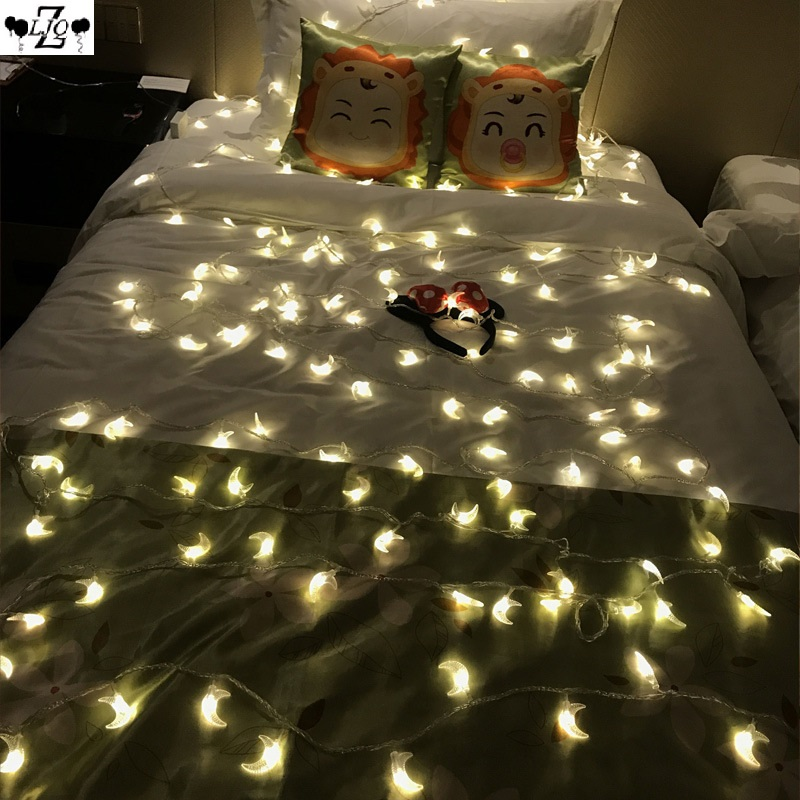 ZLJQ 3M 20 Lights String Lights Romantic Stars Moon INS Decoration Boxes Lights Surprise Wedding Christmas Bedroom Hallway 7D