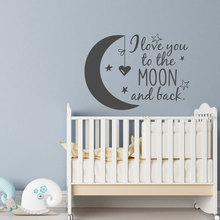 Nursery Wall Decal I Love You To The Moon And Back- Stars Sticker Kids- Children Crib Decoration Bedroom Art K554