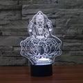 Criativo acrílico 3D LED 7 cores quatro mão estátua de Buda 3D levou candeeiro de mesa de toque colorido LED Nightlight como presente IY803472