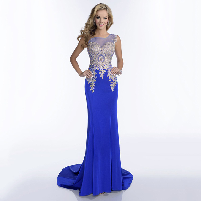940ae4eb4a6a Ivory Red Royal Blue Black Tulle Prom Dresses 2016 Scoop Neck Sheer BAck  Mermaid Evening Dress With Gold Accent