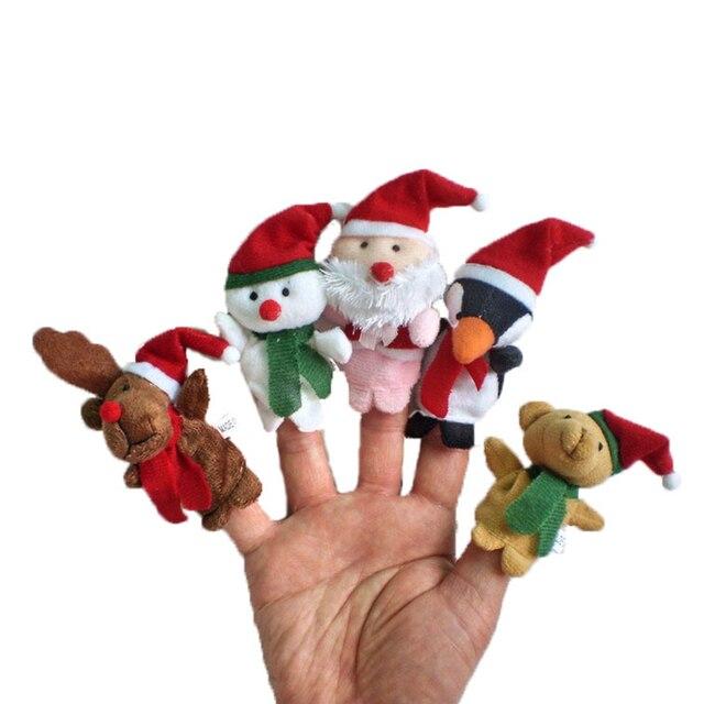 Besegad 5 pcs Natal Adereços Boneca Storytelling Adereços Fantoches Teatro Mostrar Macio Crianças Crianças Educacionais Presentes Brinquedos Mão