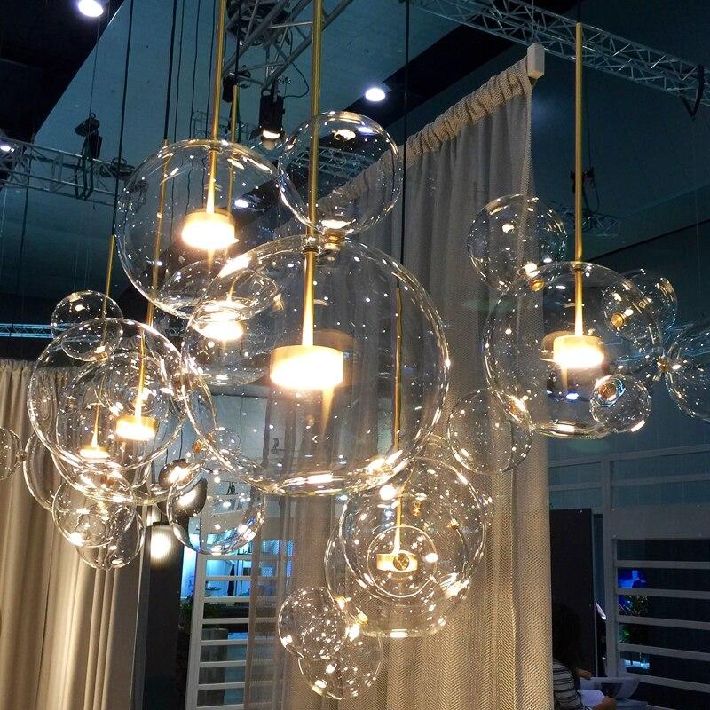 Современный прозрачный светодио дный стеклянный светодиодный подвесной светильник мыло пузырьковый шар светильники Внутреннее освещение...