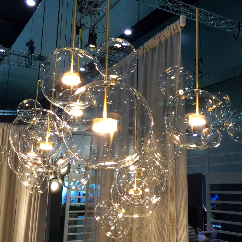 Moderne En Verre Clair pendentif LED Lampe Savon Bulle Boule Luminaires Éclairage Intérieur Lustre luminaria Lampe Suspendue
