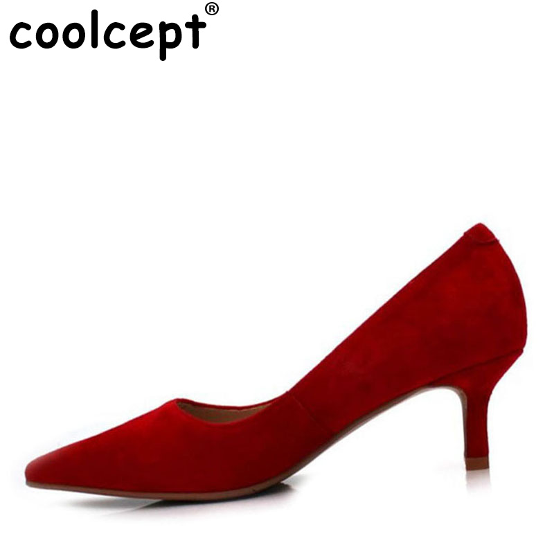 Coolcept Sexy Women Real Genuine Leather High Heel Shoes Women Pointed Toe Solid Color Tin Heel Pumps Women Shoes Size 34-39 цена