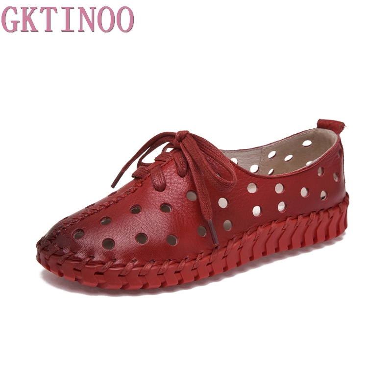 GKTINOO Summer Spring Hollow Outs Genuine Leather Shoes Women 2018 New Fashion Lace Up Women's Flats Comfortable Handmade Shoes gktinoo fashion handmade women genuine leather shoes hollow breathable summer spring flats ladies flats shoes casual shoes