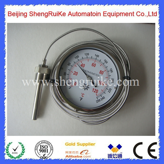 Remote  bimetal thermometer with Capillary dial 6