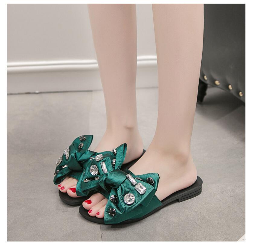 2017 new fashion women slipper Flip Flops bowknot Rhinestone Shoes Women Summer Sandals