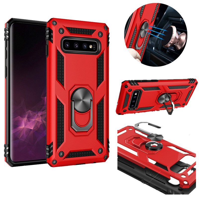 Heavy Duty Extreme Car Magnet Armor Case For Samsung Galaxy S8 Plus S9 S10 E Shockproof Cove 360 Ring Stand
