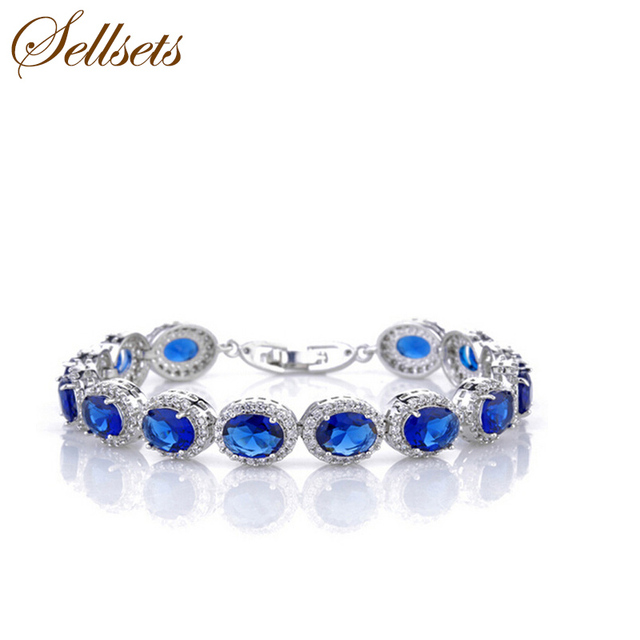 Sets Pretty Oval Blue Zircon Bracelet Bangle Cubic Zirconia Bracelets Jewelry Accessories For Women